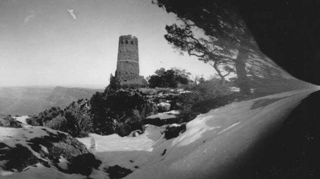 pinhole photograph of Mary Colter's Watchtower by Kim Henkel