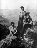 Thomas Moran sketching at the South Rim of Grand Canyon National Park with his daughters; Circa 1905