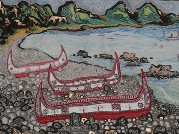 Native Boats; mixed media painting by Tay Lee
