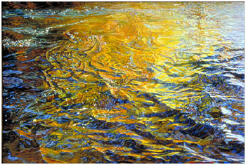 Reflection, Boulder Creek; oil painting by Elizabeth Black