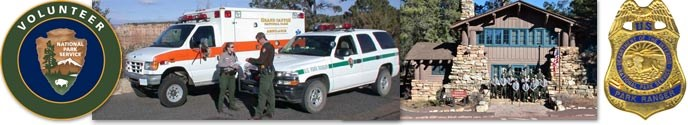 Volunteer unit program collage shows from left to right: NPS volunteer loge, an ambulance with a patrol car, rangers standing on the steps of the operations building, a ranger badge.
