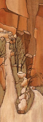 Anne Legge, mixed media on wood  North Kaibab Switchbacks