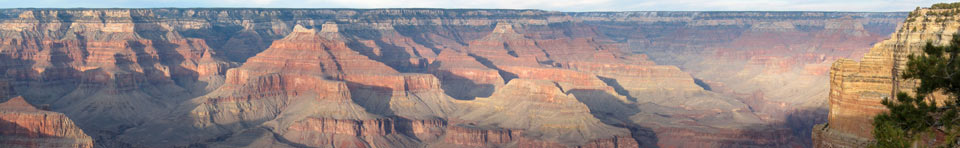 View of Grand Canyon National Park at sunset from the South Rim