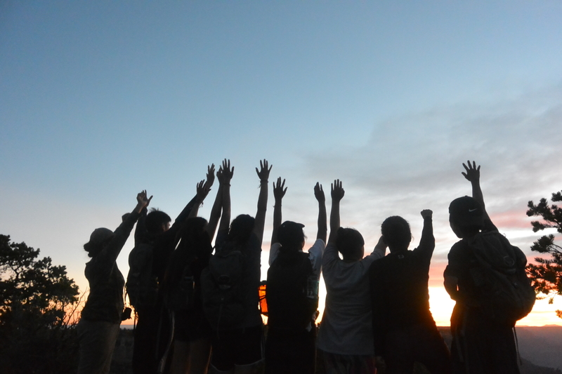 Students raise their arms in excitement in front of a sunset.