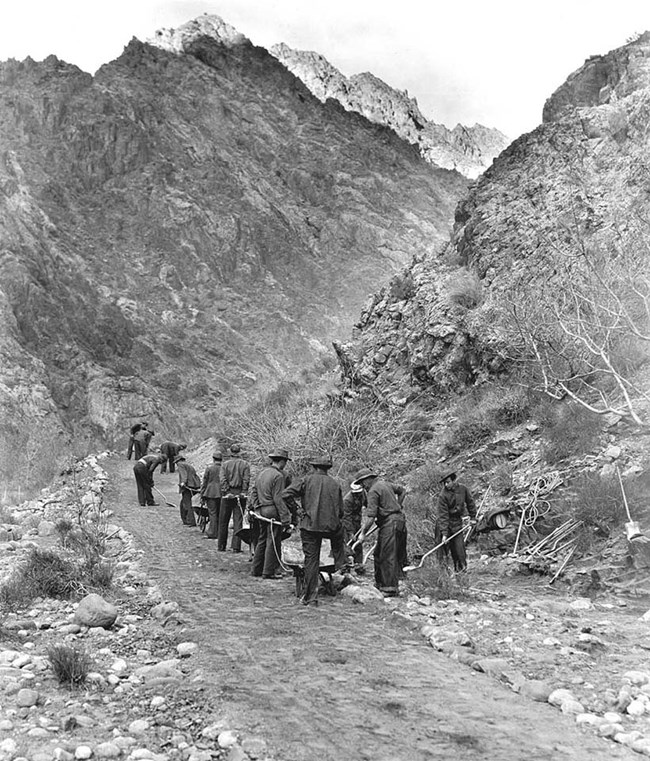 CCC working on the Kaibab trail, 1935.