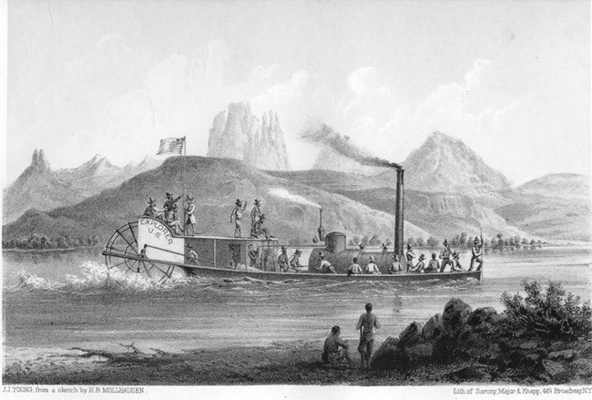 Print of a vintage steamboat in front of rugged terrain.