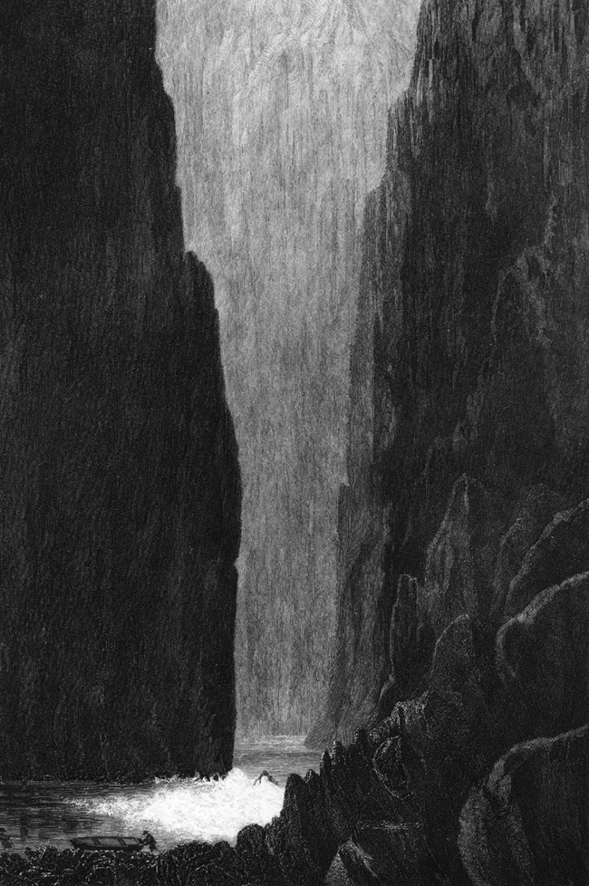Artwork of the Grand Canyon's steep, dark cliffs with the river rapids below.