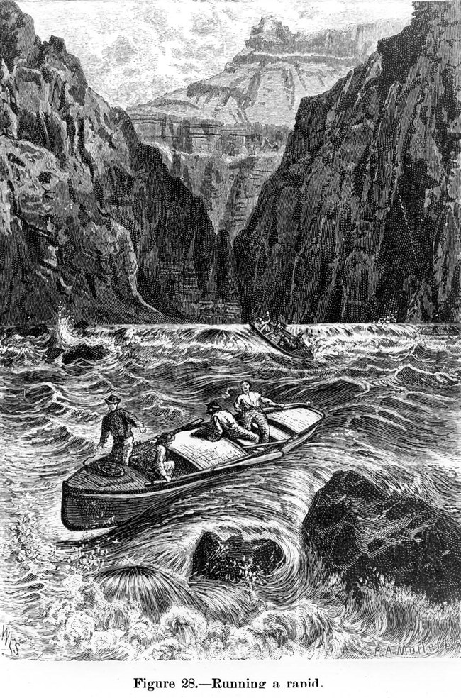 Illustration of a few boats lost and struggling in the canyon river's rapids