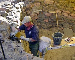 Mason stabilizing wall at Bright Angel Site.