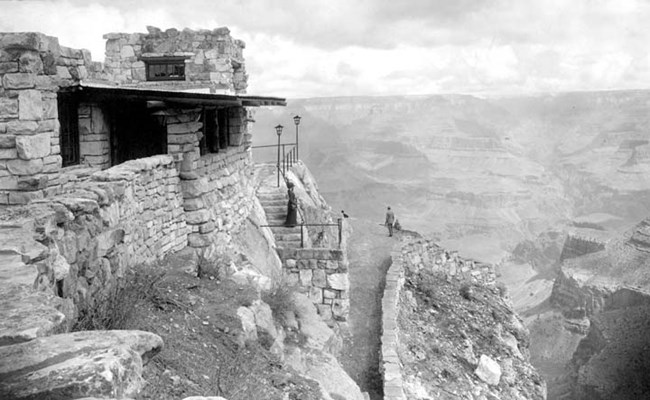 A black and white photo of the Lookout Studio.