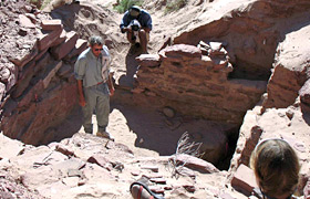 Archeologists working at site by the Colorado River.