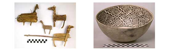 left: split-twig figurines, right: Ancestral Puebloan pot