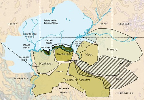 Map of Grand Canyon region showing color coded locations of traditional tribal lands