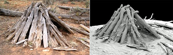 Sweat lodge (left) with 3D digital image (right) created by laser scanning.