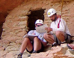 Archeologists conducting architectural condition assessment.