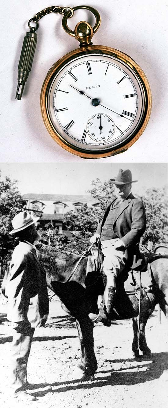 Top: John Wesley Powell's watch, Bottom: John Hance talking to Teddy Roosevelt