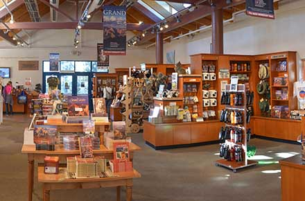 Interior view of bookshelves and retail displays in a large bookstore.