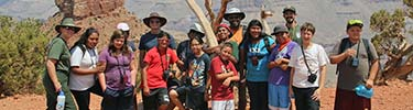 Group of students on a canyon hike with rangers