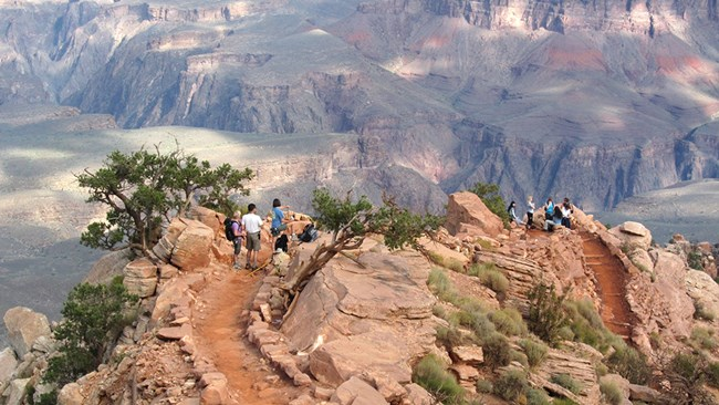 Several hikers on the South Kaibab trail