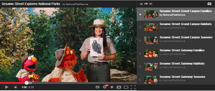 Sesame Street Video Playlist on the NPS YouTube Channel