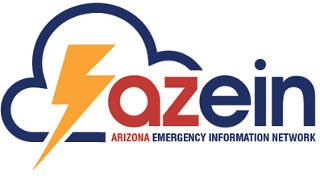 Arizona Emergency Information Network logo with the letters: azein next to a stylized cloud and lightning bolt.
