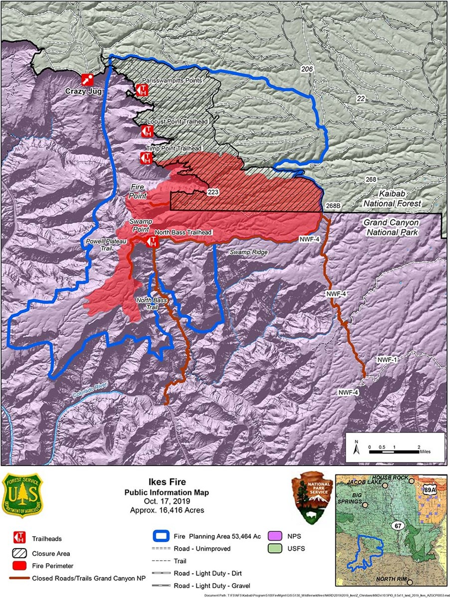 map showing the Ikes Fire Planning area in relation to the north side of Grand Canyon National Park in its boundary with Kaibab Nat. Forest