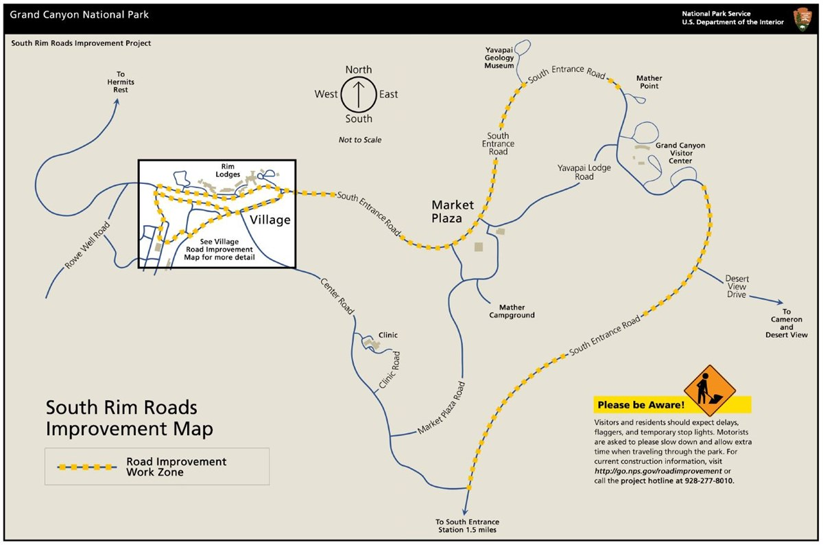 South Rim Roads Improvement Construction Zones Map