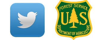 Two logos side-by-side. Twitter logo with a silhouette of a white bird against a blue background and U.S. Forest Service Logo in the shape of a shield with a green background with yellow letters and a stylized pine tree.