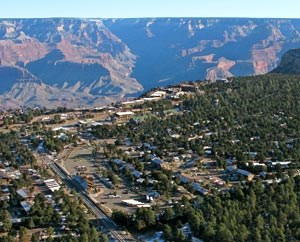 aerial view of grand canyon village looking north to the canyon.