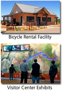bicycle rental (top) Visitor Center Exhibits (bottom)