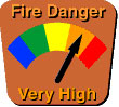 Fire danger chart with bands of blue, green, yellow, orange, and red. Arrow points to orange, indicating very high fire danger.