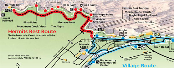 Hermit Road Grand Canyon National Park US National Park Service – Grand Canyon Tourist Map