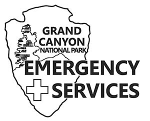 "a line drawing of an NPS arrowhead with the words ""Grand Canyon National Park Emergency Services superimposed over the graphic."