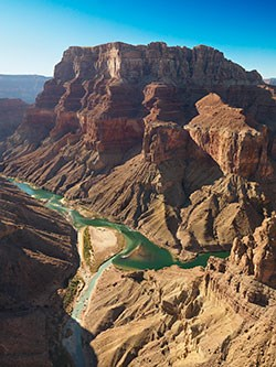 Aerial view of the confluence of Colorado River and Little Colorado River looking west