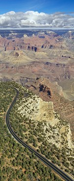 Aerial view from Hermit Road near Maricopa Point on the S Rim of the Grand Canyon looking northeast.