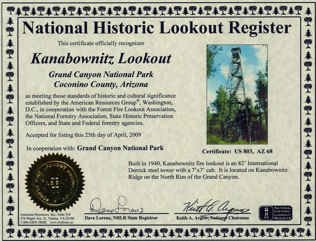 Certificate recognizing Kanabownitz fire tower as culturally significant. There is a photo of the tower, a gold seal, and validation signatures. April 25, 2009