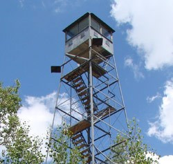 Looking up at the North Rim Fire Tower.