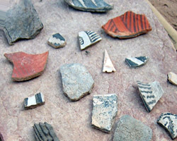 Many of the pottery sherds were decorated with black-on-white painted designs.