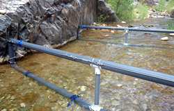 A PIT tag antenna placed near the falls will record any fish that are washed out of the stream