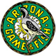 Arizona Game and Fish logo shows a quail against a green circle with yellow letters that read, Arizona Game and Fish.