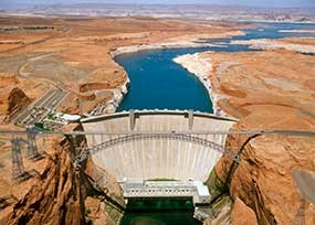 Aerial view of Glen Canyon Dam and Lake Powell, US Bureau of Reclamation.