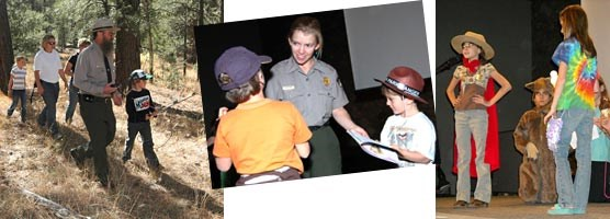 Left to right: Ranger Ron Brown shows how to track and locate animals through radio telemetry, Ranger Lori Rome swearing in Junior Rangers, Grand Canyon Elementary School students performing a wildlife skit.