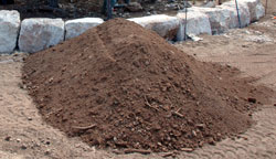 large pile of native topsoil