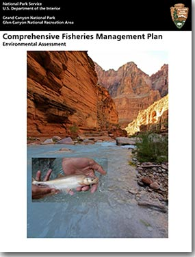 Front cover of the Comprehensive Fisheries Management Plan shows a view looking the blue-green water of Havasu Creek. An insert photo shows human hands holding a humpback chub.