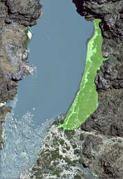 aerial photo of granite camp. area to be treated is highlighted in green.
