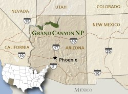 Map of Grand Canyon National Park in Arizona. Map depicts closeness of Grand Canyon NP to the Four Corners region.