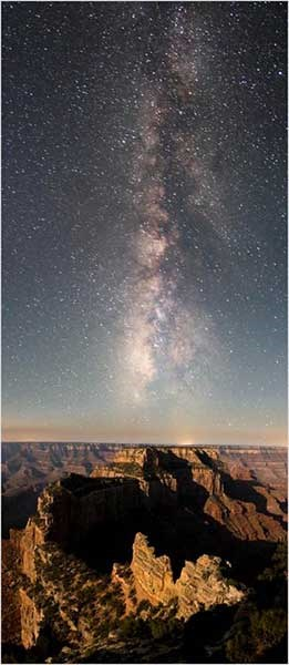 Looking south at the Milky Way extending way up into the sky over Cape Royal on the North Rim of the park.