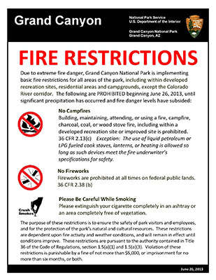 Grand Canyon National Park to Implement Fire Restrictions - poster