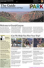 front cover of 2015 Season North Rim Guide Newspaper. View of Roosevelt Point at the top of page.