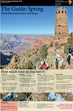 Front cover of 2015 Spring Guide Newspaper showing Desert View Watchtower and Colorado River